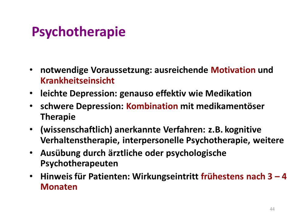 Psychotherapie notwendige Voraussetzung: ausreichende Motivation und Krankheitseinsicht. leichte Depression: genauso effektiv wie Medikation.