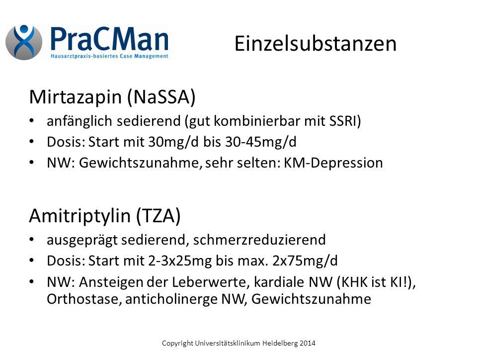 Einzelsubstanzen Mirtazapin (NaSSA) Amitriptylin (TZA)