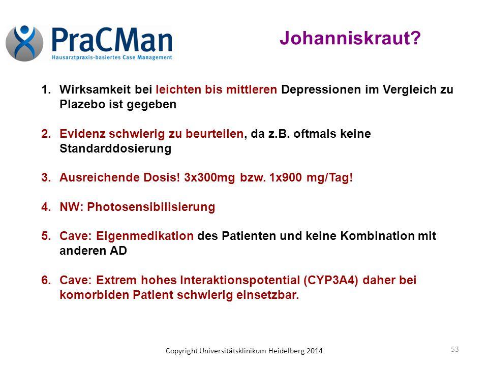 Johanniskraut Wirksamkeit bei leichten bis mittleren Depressionen im Vergleich zu Plazebo ist gegeben.