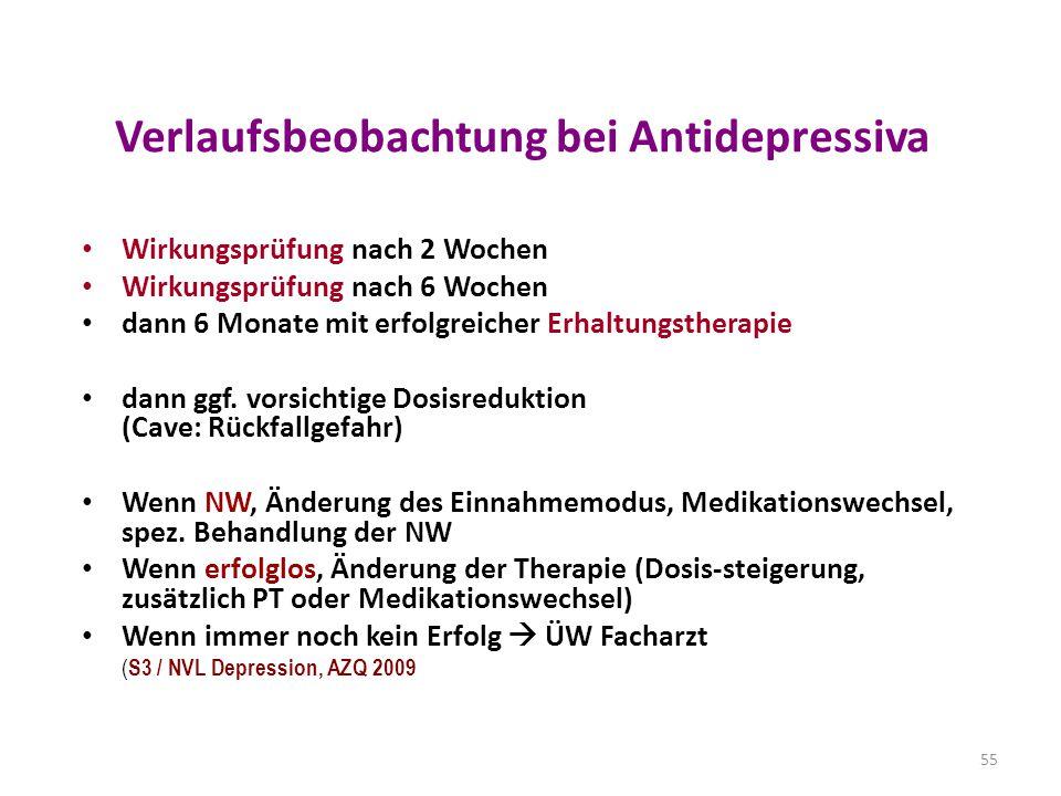Verlaufsbeobachtung bei Antidepressiva