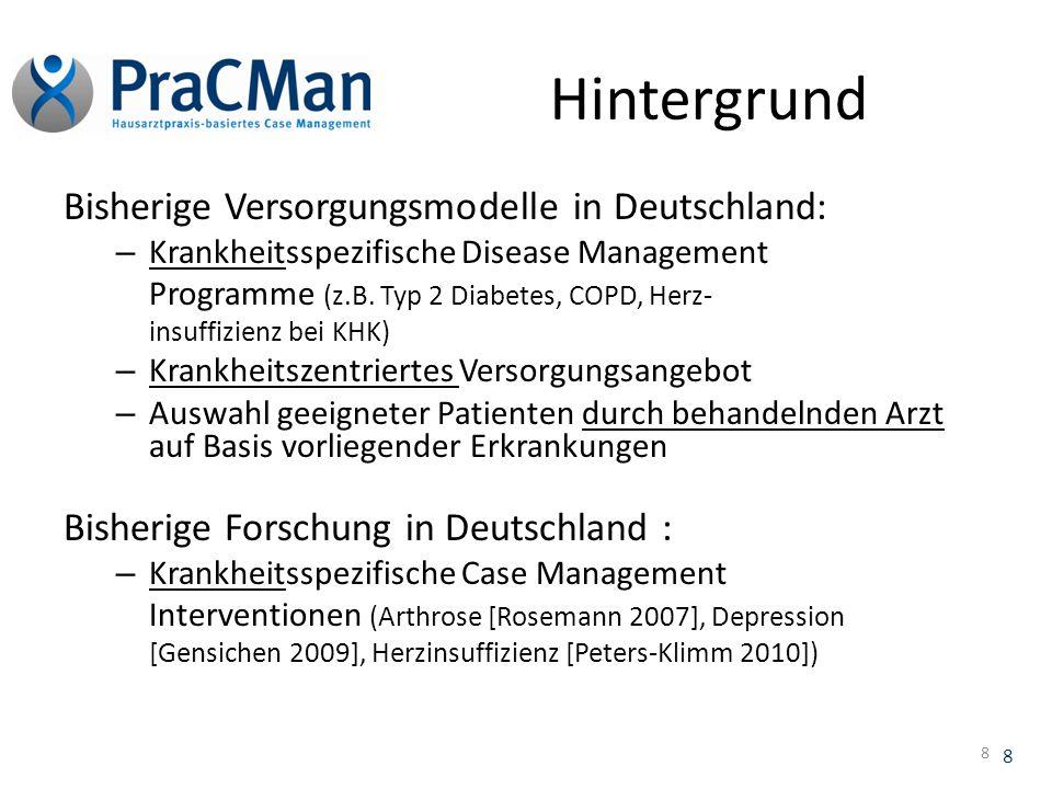 Hintergrund Bisherige Versorgungsmodelle in Deutschland: