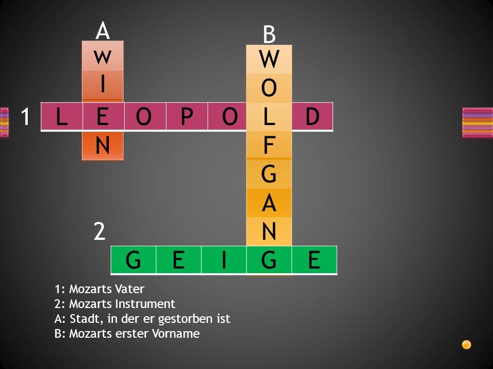 A B w W I O 1 L E O P O L D N F D G A 2 N G E I G E 1: Mozarts Vater