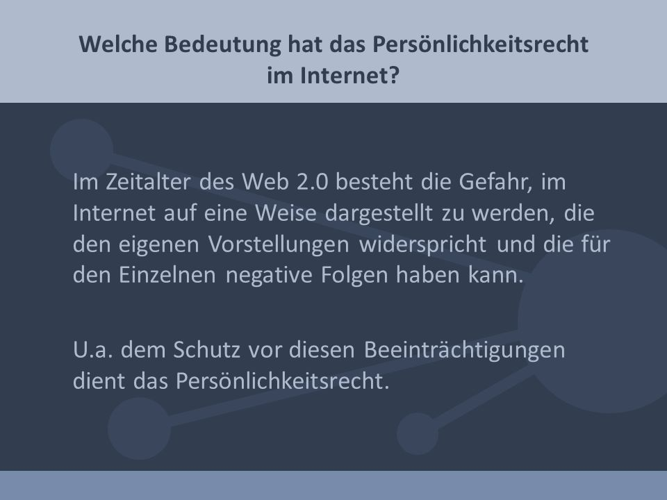 Welche Bedeutung hat das Persönlichkeitsrecht im Internet