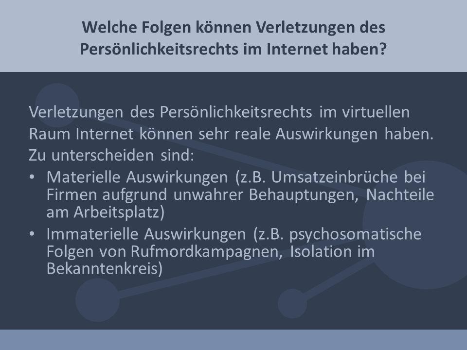 Verletzungen des Persönlichkeitsrechts im virtuellen