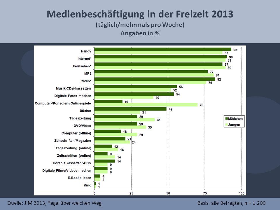 Medienbeschäftigung in der Freizeit 2013 (täglich/mehrmals pro Woche)