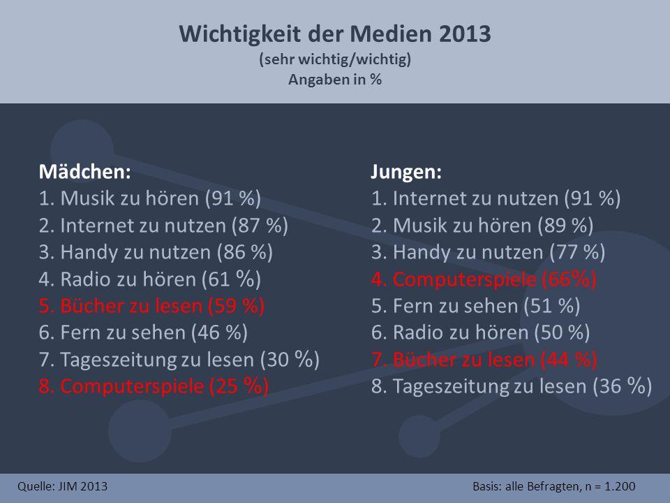 Wichtigkeit der Medien 2013 (sehr wichtig/wichtig)