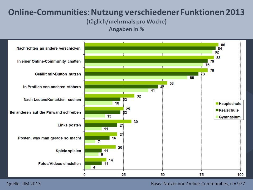 Online-Communities: Nutzung verschiedener Funktionen 2013
