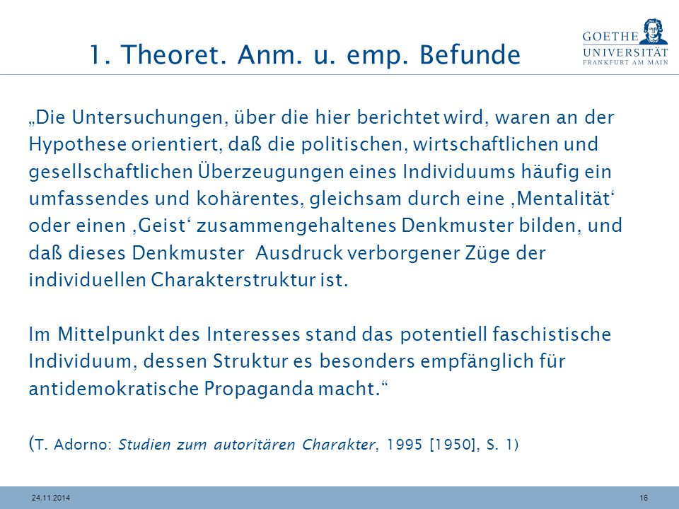 1. Theoret. Anm. u. emp. Befunde