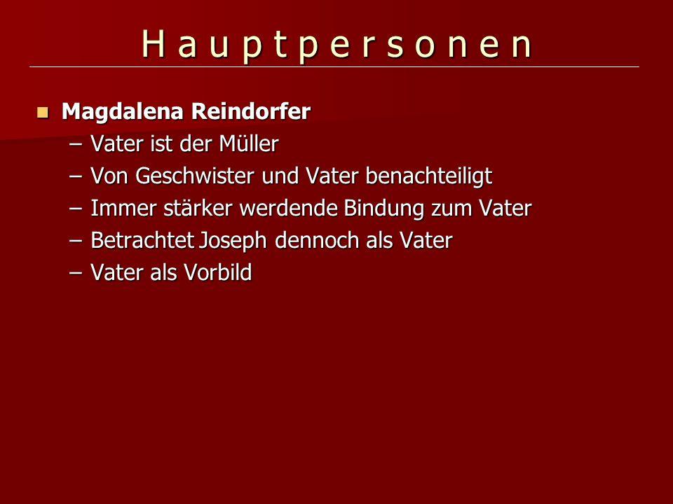 H a u p t p e r s o n e n Magdalena Reindorfer Vater ist der Müller