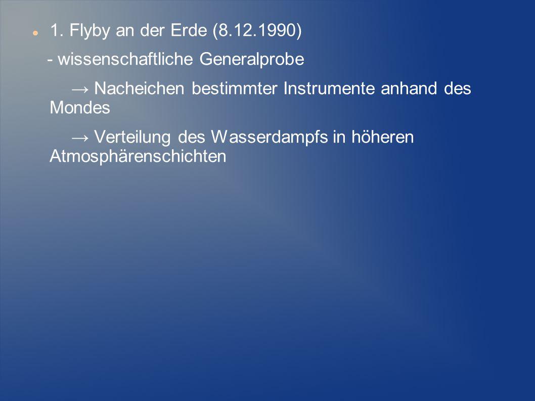 1. Flyby an der Erde (8.12.1990) - wissenschaftliche Generalprobe. → Nacheichen bestimmter Instrumente anhand des Mondes.