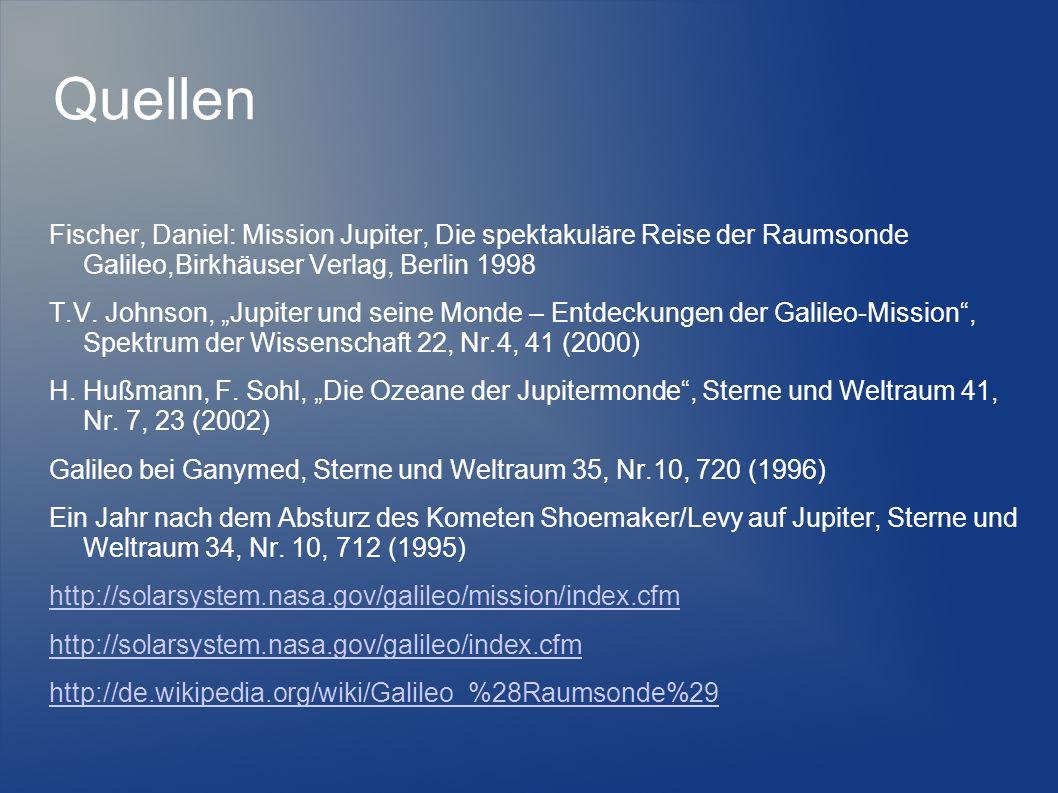 Quellen Fischer, Daniel: Mission Jupiter, Die spektakuläre Reise der Raumsonde Galileo,Birkhäuser Verlag, Berlin 1998.