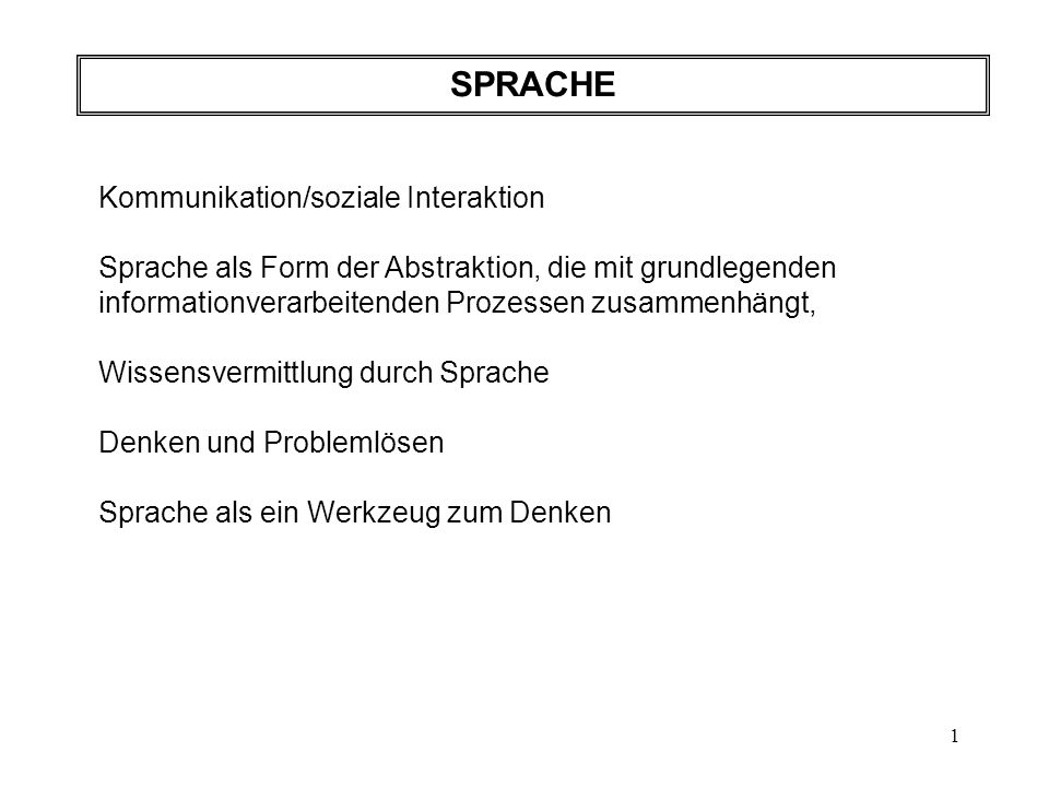 SPRACHE Kommunikation/soziale Interaktion