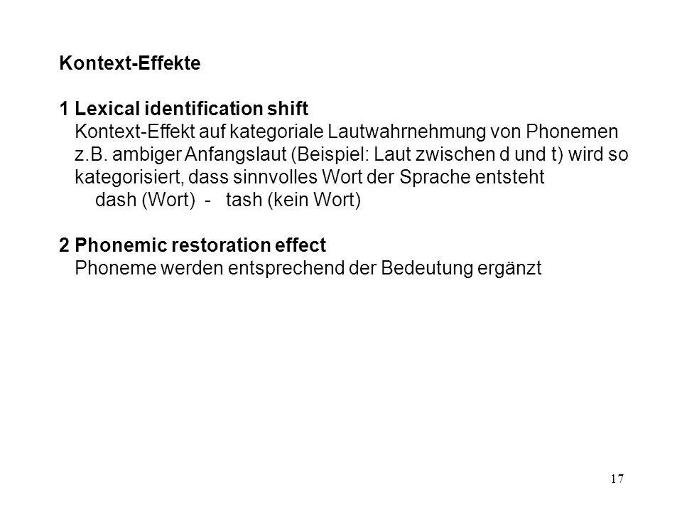 Kontext-Effekte 1 Lexical identification shift Kontext-Effekt auf kategoriale Lautwahrnehmung von Phonemen.