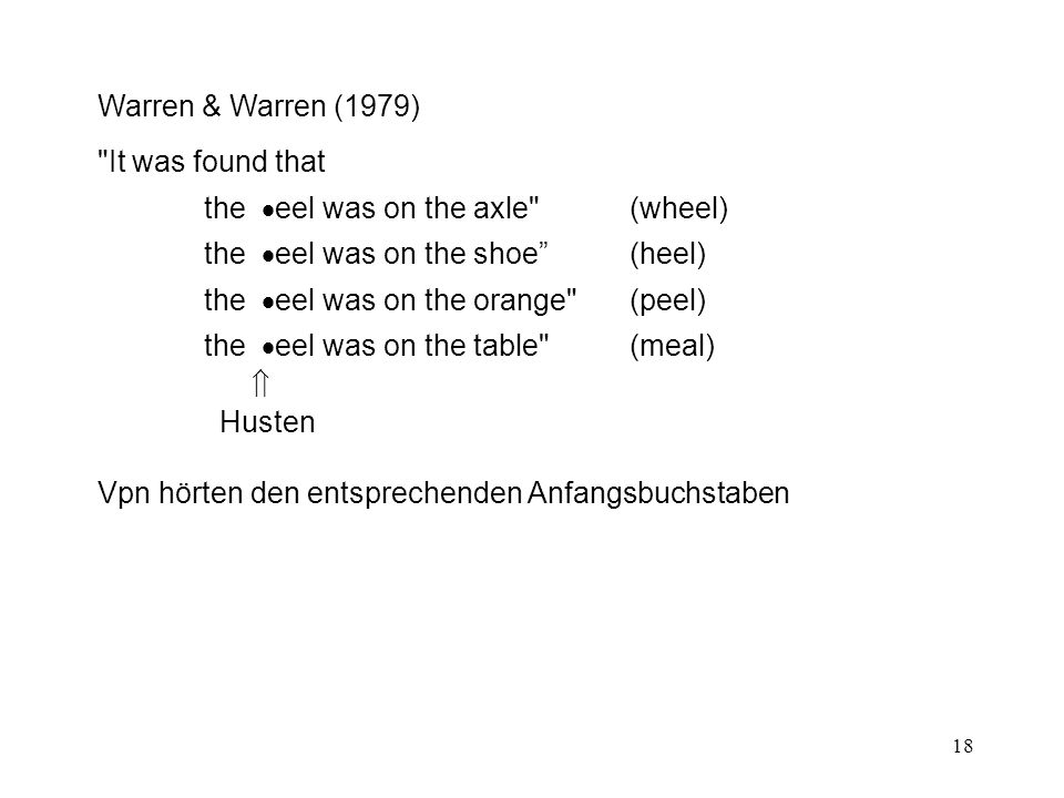 Warren & Warren (1979) It was found that. the eel was on the axle (wheel) the eel was on the shoe (heel)