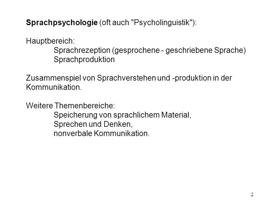 Sprachpsychologie (oft auch Psycholinguistik ):