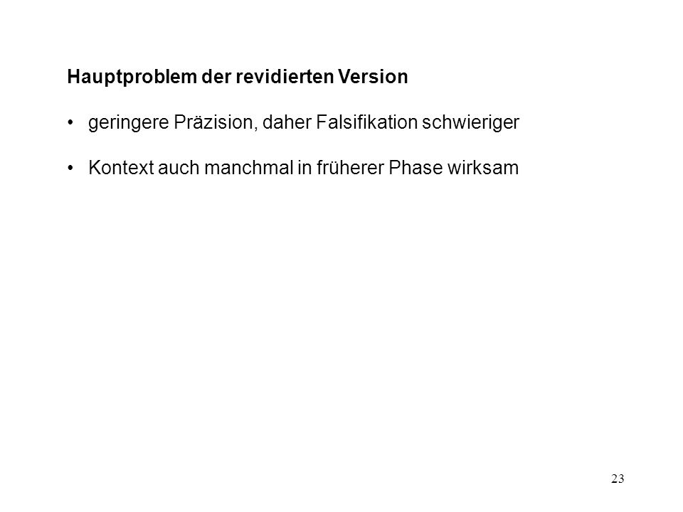 Hauptproblem der revidierten Version