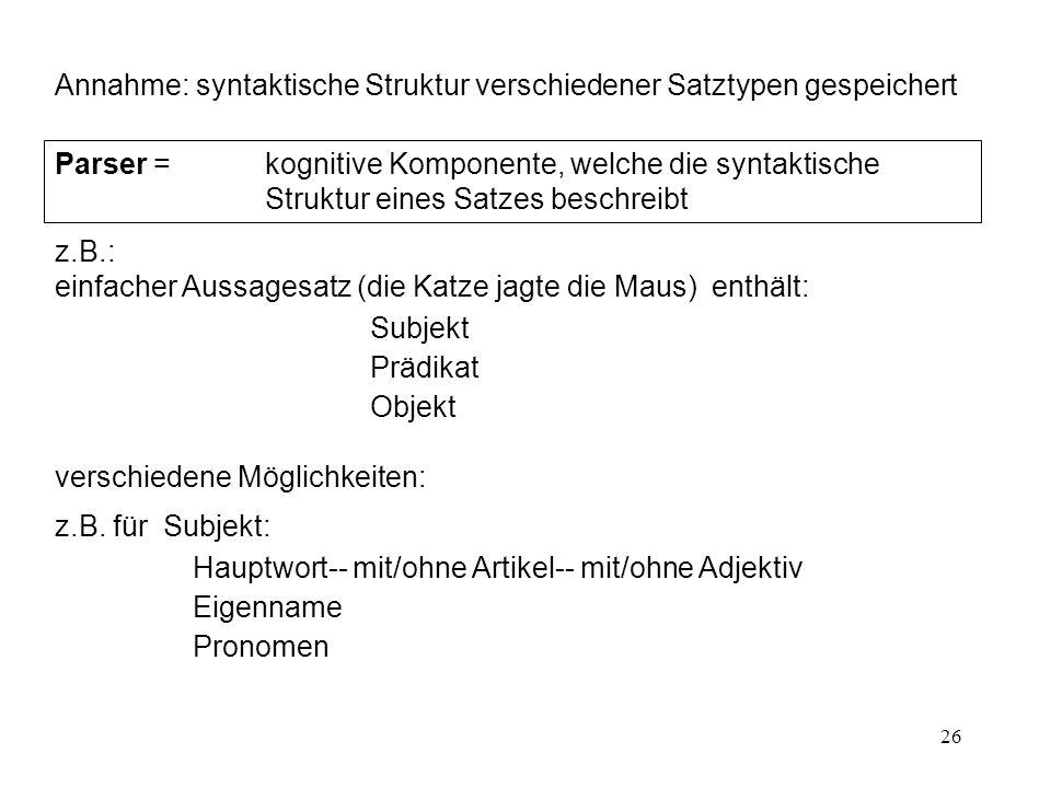 Annahme: syntaktische Struktur verschiedener Satztypen gespeichert