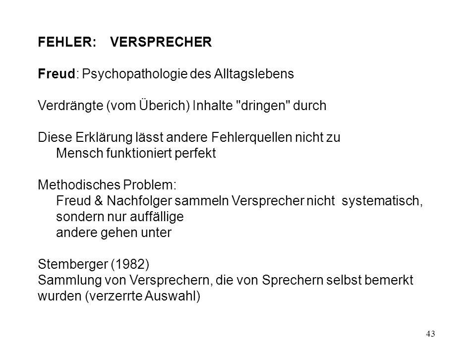 FEHLER: VERSPRECHER Freud: Psychopathologie des Alltagslebens. Verdrängte (vom Überich) Inhalte dringen durch.