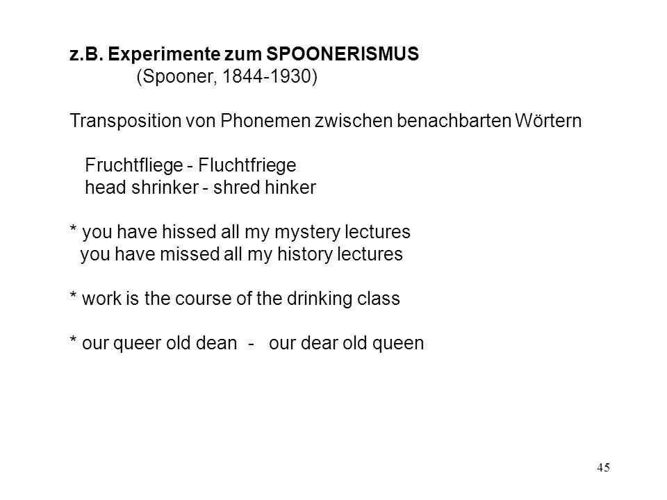 z.B. Experimente zum SPOONERISMUS