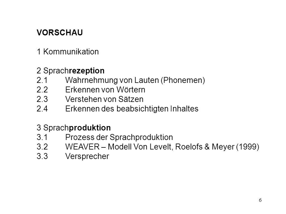 VORSCHAU 1 Kommunikation. 2 Sprachrezeption. 2.1 Wahrnehmung von Lauten (Phonemen) 2.2 Erkennen von Wörtern.