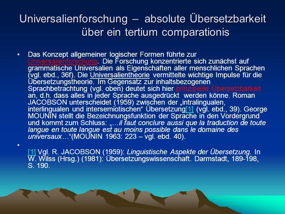 Universalienforschung – absolute Übersetzbarkeit über ein tertium comparationis