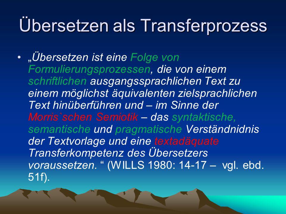 Übersetzen als Transferprozess