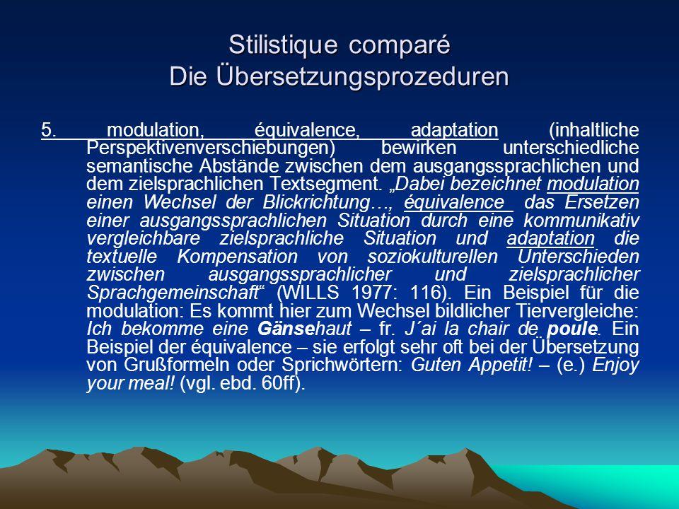 Stilistique comparé Die Übersetzungsprozeduren