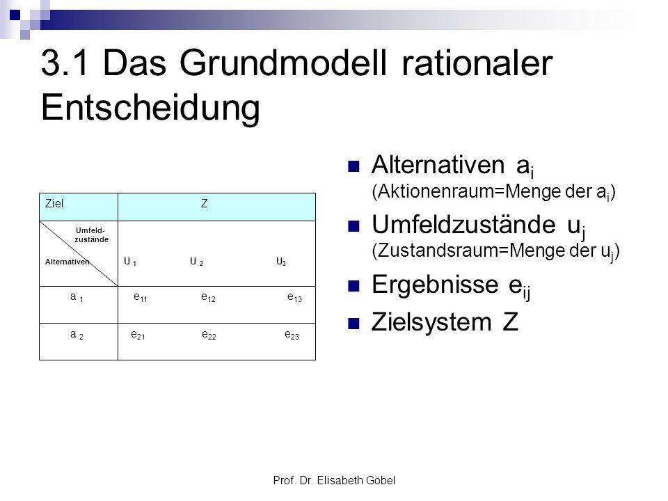 3.1 Das Grundmodell rationaler Entscheidung