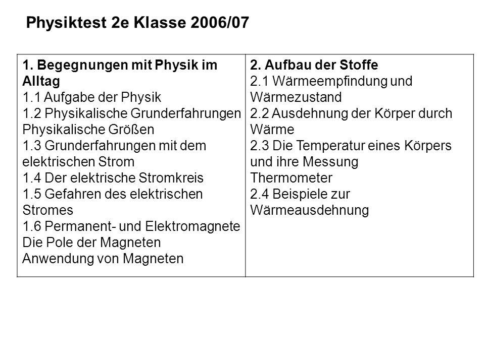 Physiktest 2e Klasse 2006/07 1. Begegnungen mit Physik im Alltag