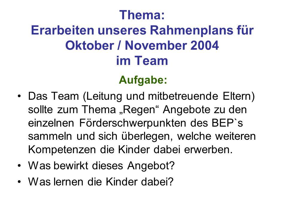 Thema: Erarbeiten unseres Rahmenplans für Oktober / November 2004 im Team