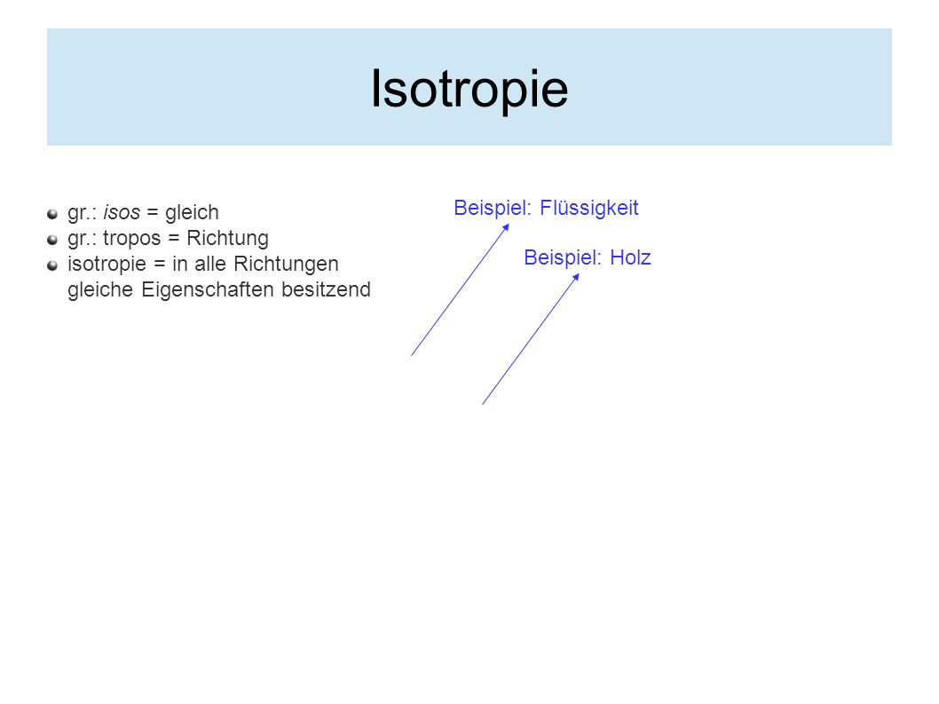 Isotropie Beispiel: Flüssigkeit gr.: isos = gleich