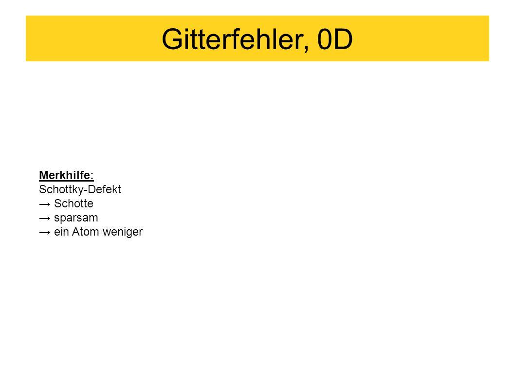 Gitterfehler, 0D Merkhilfe: Schottky-Defekt → Schotte → sparsam