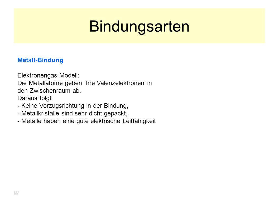 Bindungsarten Metall-Bindung Elektronengas-Modell: