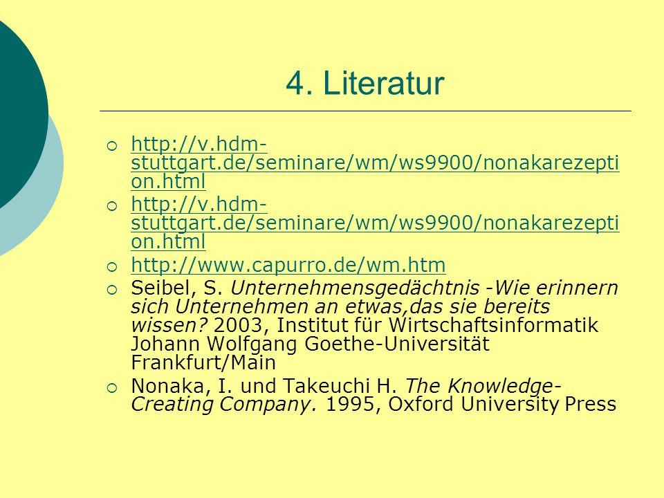 4. Literatur http://v.hdm-stuttgart.de/seminare/wm/ws9900/nonakarezeption.html. http://www.capurro.de/wm.htm.
