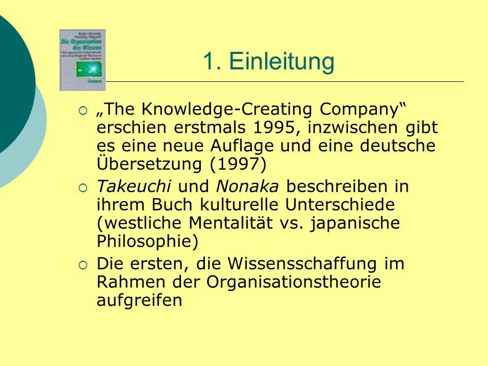 """1. Einleitung """"The Knowledge-Creating Company erschien erstmals 1995, inzwischen gibt es eine neue Auflage und eine deutsche Übersetzung (1997)"""