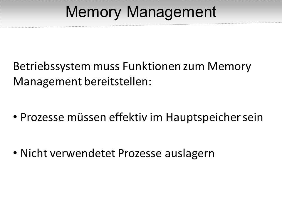 Memory Management Betriebssystem muss Funktionen zum Memory Management bereitstellen: Prozesse müssen effektiv im Hauptspeicher sein.