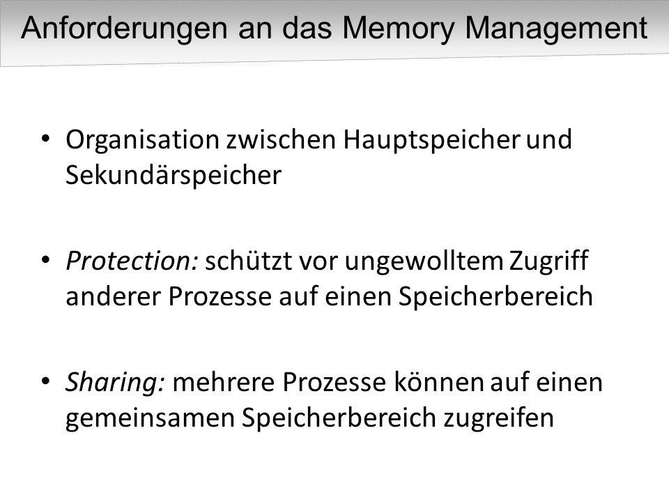Anforderungen an das Memory Management