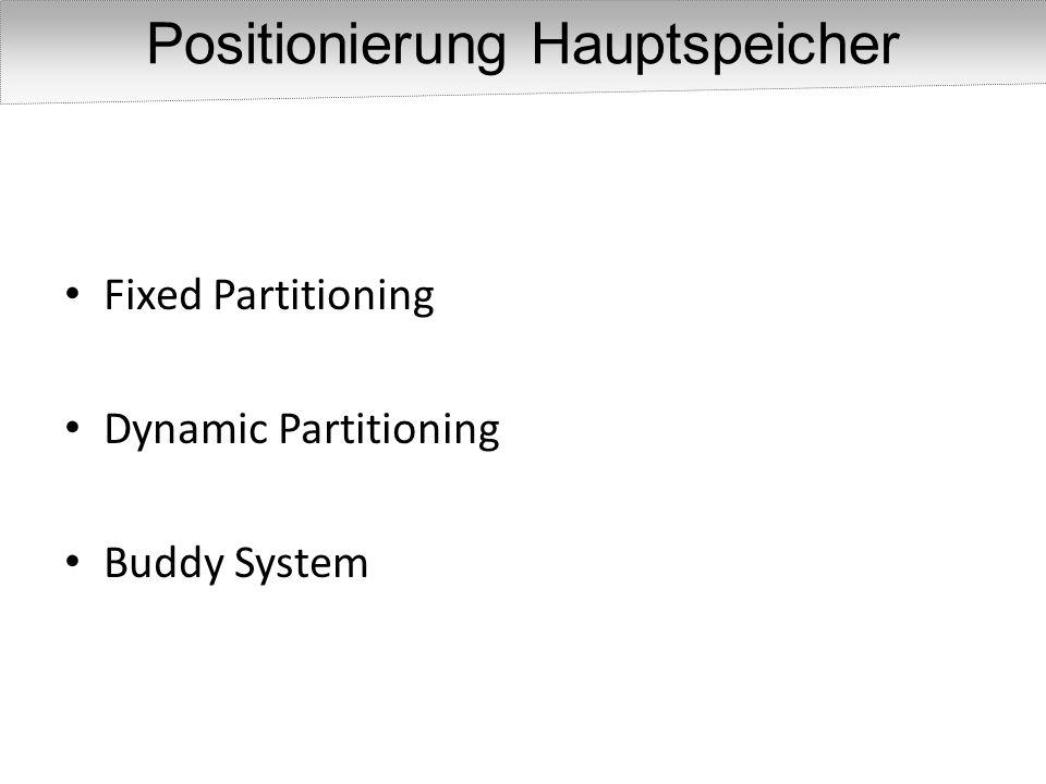 Positionierung Hauptspeicher