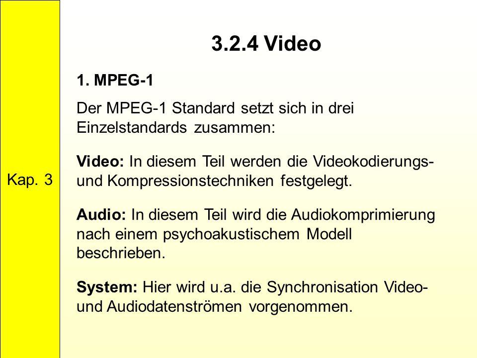 Kap. 3 3.2.4 Video. 1. MPEG-1. Der MPEG-1 Standard setzt sich in drei Einzelstandards zusammen: