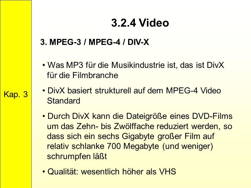 3.2.4 Video 3. MPEG-3 / MPEG-4 / DIV-X Kap. 3