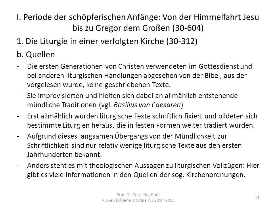 VL Gewachsene Liturgie WS 2014/2015