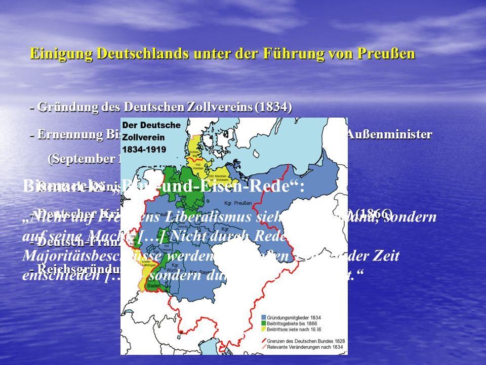 Einigung Deutschlands unter der Führung von Preußen