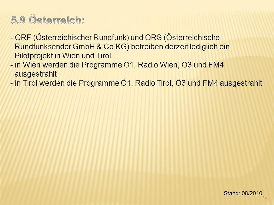 5.9 Österreich: - ORF (Österreichischer Rundfunk) und ORS (Österreichische. Rundfunksender GmbH & Co KG) betreiben derzeit lediglich ein.