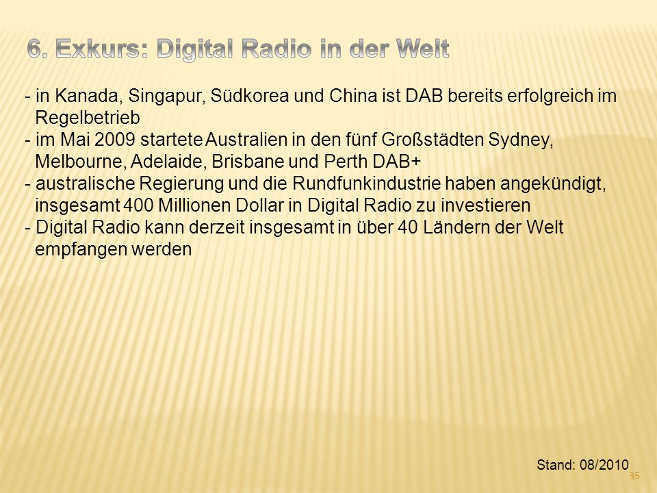6. Exkurs: Digital Radio in der Welt