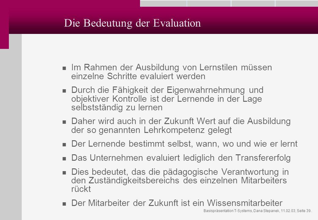 Die Bedeutung der Evaluation
