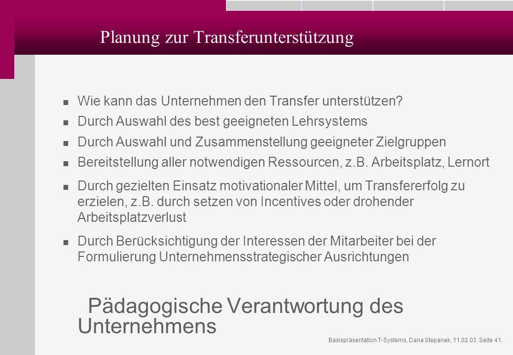 Planung zur Transferunterstützung