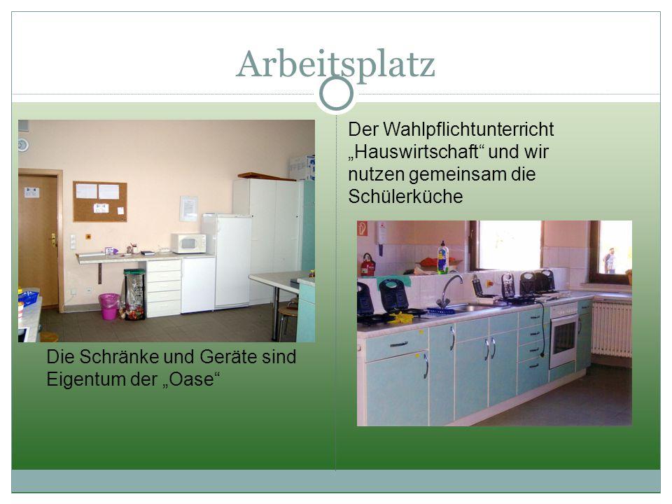 """Arbeitsplatz Der Wahlpflichtunterricht """"Hauswirtschaft und wir nutzen gemeinsam die Schülerküche."""