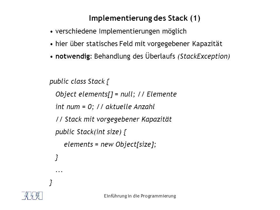 Implementierung des Stack (1)