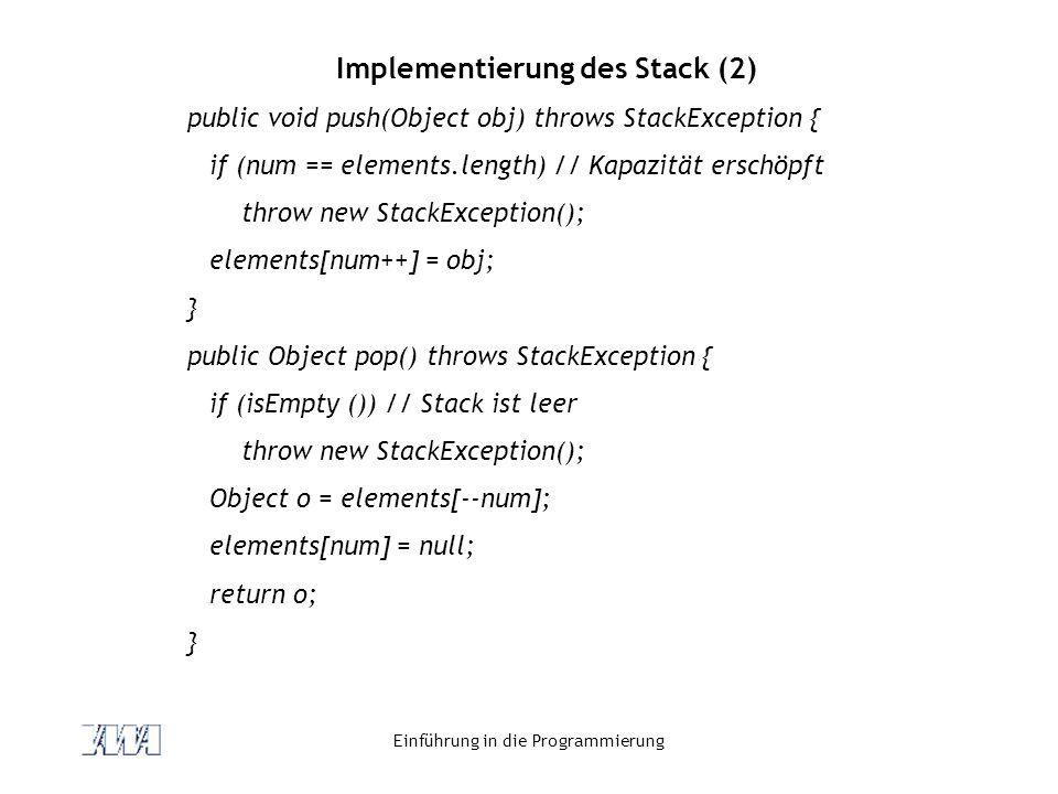 Implementierung des Stack (2)