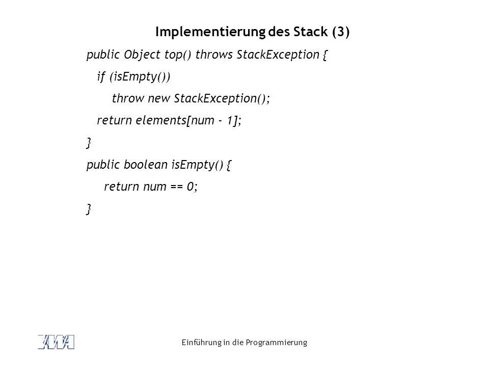Implementierung des Stack (3)